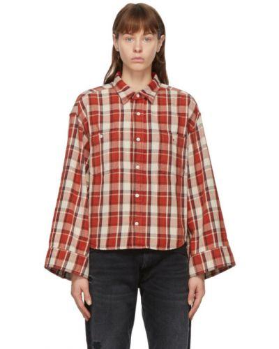 Фланелевая белая рубашка с длинными рукавами R13