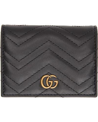 Skórzany portfel na monety prążkowany z gniazdem wytłoczony Gucci