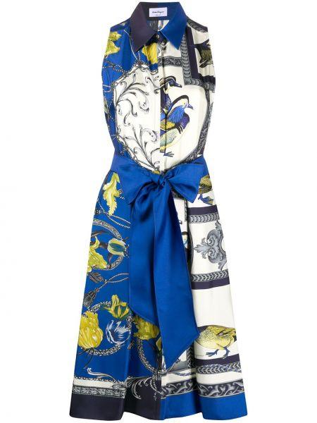 Шелковое плиссированное платье Salvatore Ferragamo