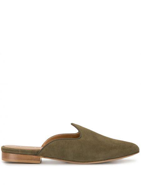 Зеленые кожаные мюли на каблуке без застежки Le Monde Beryl