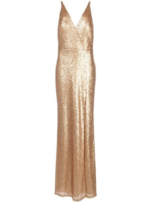 Платье с пайетками - желтое Marchesa Notte