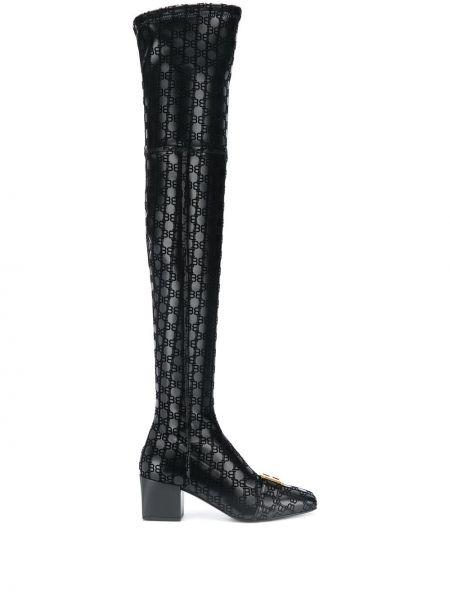 Черные кожаные ботфорты на каблуке на молнии квадратные Balmain