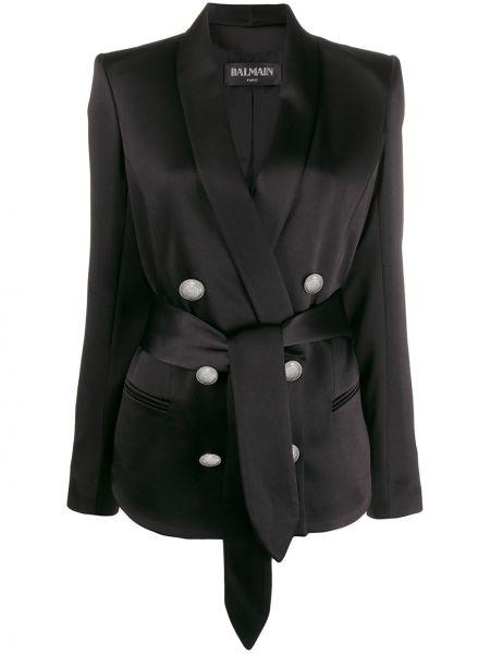 Куртка черная с карманами Balmain
