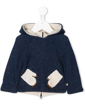 Niebieski sweter z kapturem wełniany Oeuf
