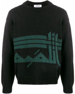 Шерстяной черный свитер с вышивкой с вырезом Adish