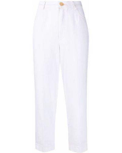 Хлопковые белые укороченные брюки с карманами Forte Forte