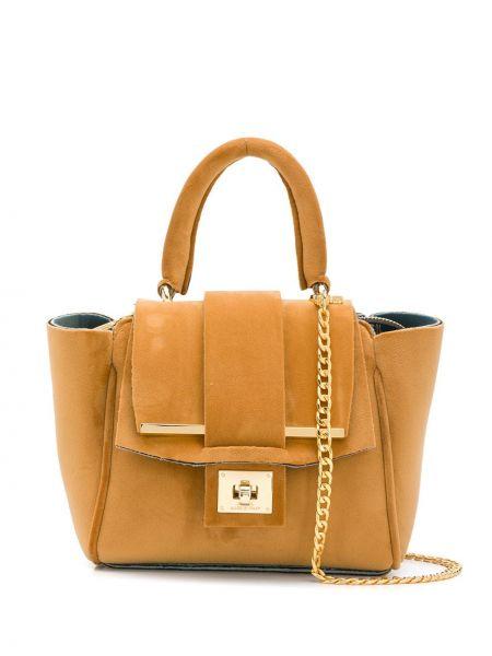 Коричневая сумка на цепочке из верблюжьей шерсти Alila