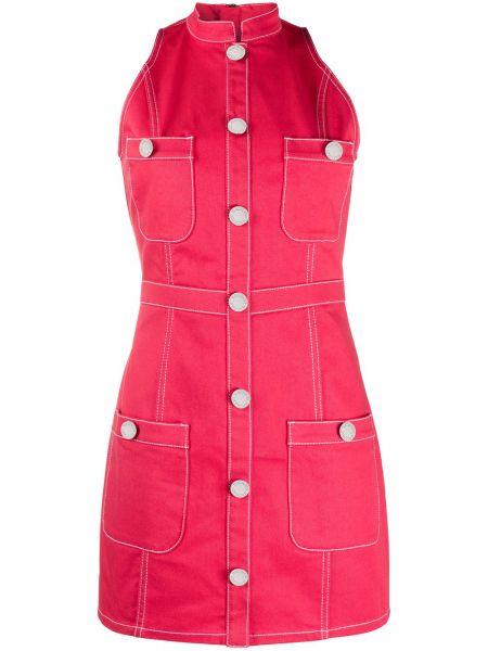 Облегающее розовое платье мини с воротником Balmain