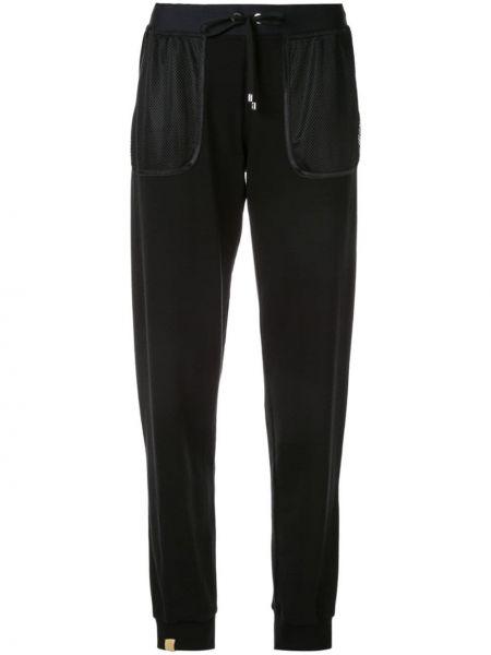 Черные брюки с карманами из вискозы на шнурках Monreal London