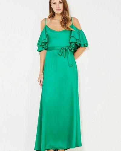 Зеленое платье с открытыми плечами Mirasezar