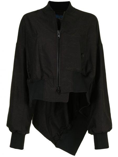 Черный бомбер на молнии в рубчик Yohji Yamamoto