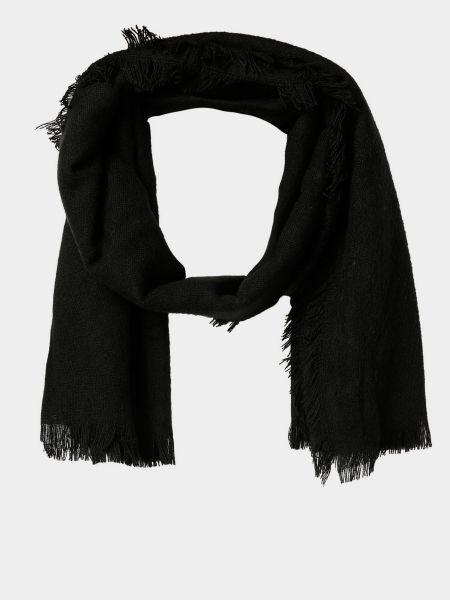 Акриловый черный шарф с бахромой Colin's