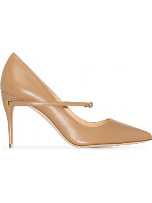 Кожаные золотистые коричневые туфли-лодочки на каблуке Jennifer Chamandi