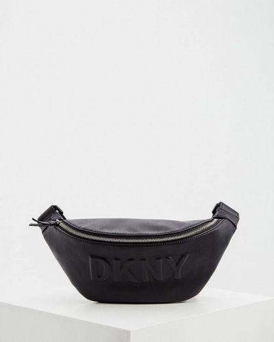 Черная кожаная поясная сумка Dkny