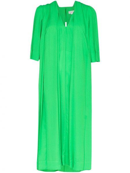С рукавами плиссированное зеленое платье миди на молнии Victoria Beckham