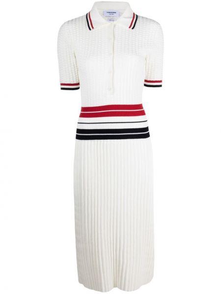 Klasyczna prążkowana sukienka mini krótki rękaw Thom Browne