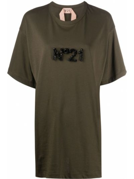 Зеленая хлопковая футболка оверсайз с круглым вырезом N°21