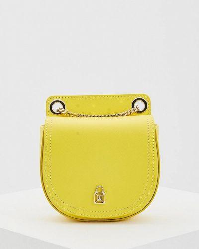 Желтая кожаная сумка через плечо Patrizia Pepe