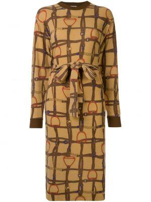 Платье миди винтажная в рубчик Céline Pre-owned
