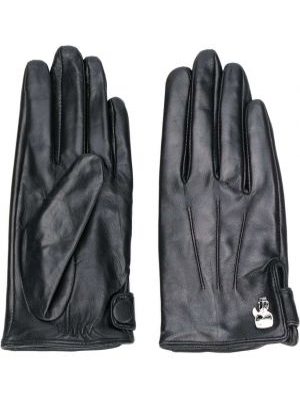 Черные кожаные перчатки на пуговицах Karl Lagerfeld