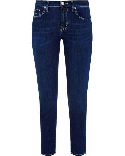 Кожаные облегающие синие джинсы Jacob Cohen