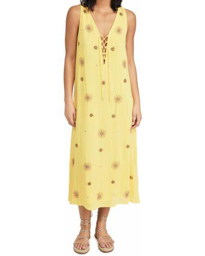 Кружевное платье золотое с декольте Sundress