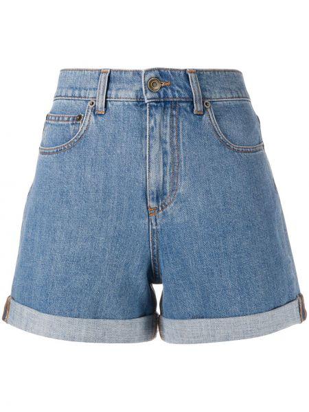 Хлопковые синие джинсовые шорты с карманами со стразами Philosophy Di Lorenzo Serafini