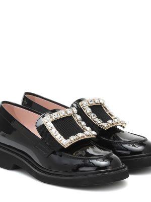 Черные кожаные туфли из натуральной кожи Roger Vivier
