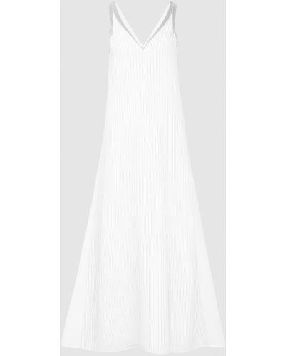 Шелковое белое платье макси с V-образным вырезом Brunello Cucinelli