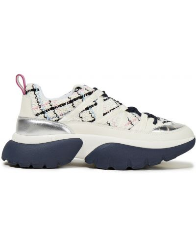 Кожаные белые кроссовки на шнурках Maje