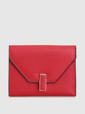 Красный кожаный кожаный кошелек Valextra