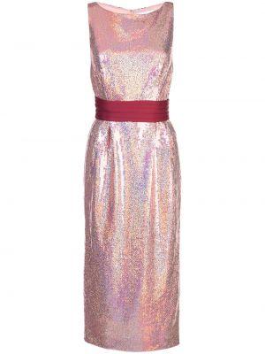 Розовое приталенное платье миди с пайетками без рукавов Markarian