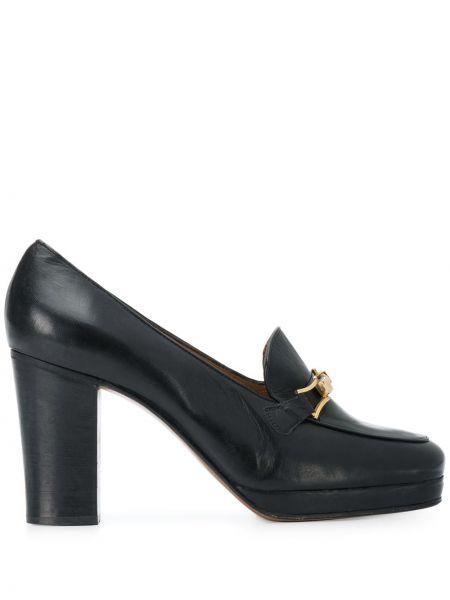 Черные лоферы на каблуке винтажные A.n.g.e.l.o. Vintage Cult