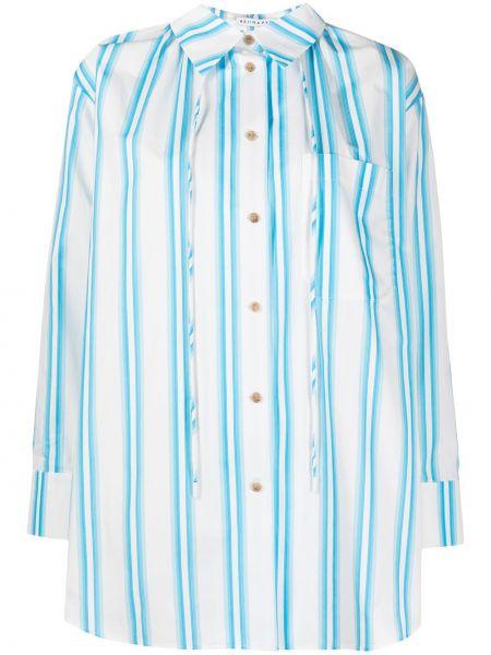Хлопковая синяя рубашка в полоску Rejina Pyo