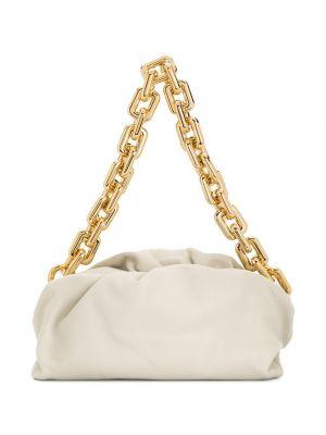 Кожаная золотистая белая сумка на цепочке Bottega Veneta