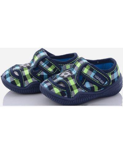 Синие тапочки вельветовые с вышивкой Viggami