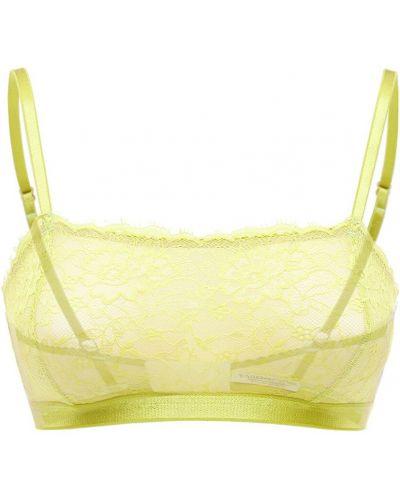 Żółty biustonosz koronkowy sznurowany Underprotection