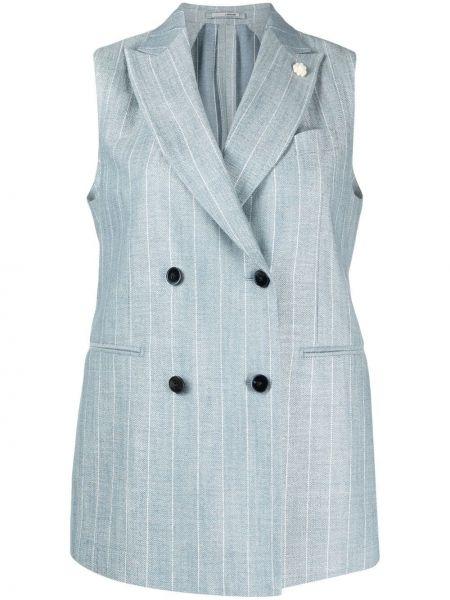 Синий пиджак двубортный без рукавов Lardini