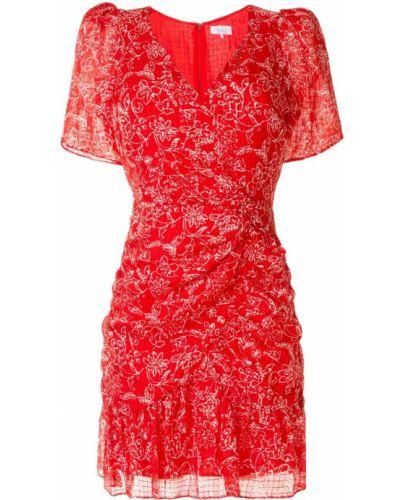 Платье мини в цветочный принт - красное Parker