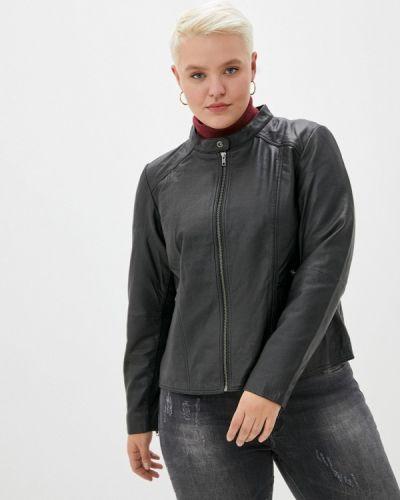 Кожаная черная куртка Zizzi
