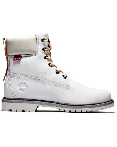 Кожаные белые ботинки на шнурках Timberland