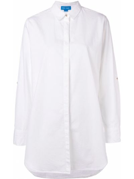 Хлопковая с рукавами белая джинсовая рубашка Mih Jeans