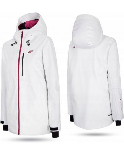 Biała kurtka snowboardowa z kapturem z długimi rękawami 4f