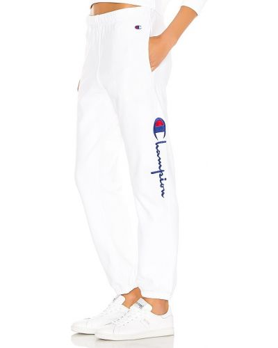 Bawełna biały klasyczne spodnie z mankietami z haftem Champion