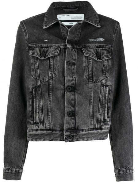 Классическая черная джинсовая куртка с воротником на пуговицах Off-white