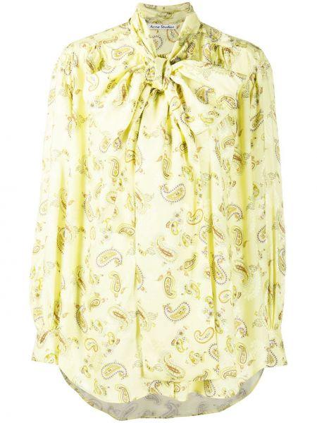 Żółty bluzka z długim rękawem zapinane na guziki z mankietami z wiskozy Acne Studios