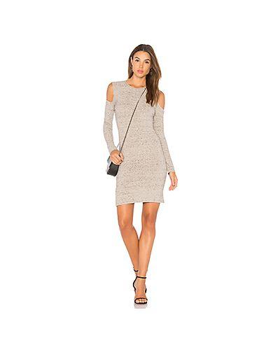 Платье мини вязаное с разрезами по бокам в рубчик David Lerner