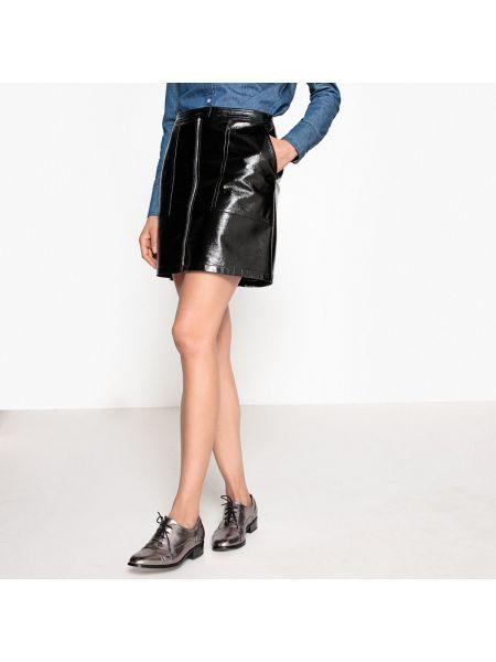 Черная расклешенная юбка мини с подкладкой La Redoute Collections
