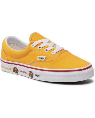 Żółte tenisówki z printem Vans