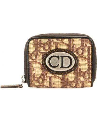 Коричневый кожаный кошелек для монет винтажный Christian Dior